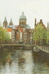 Schilderij: Oudezijds Voorburgwal, Amsterdam van