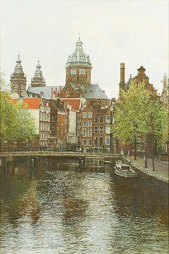 Schilderij: Oudezijds Voorburgwal, Amsterdam sur Igor Shterenberg