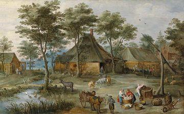 Dörfliche Szene am Ziehbrunnen, Josse de Momper