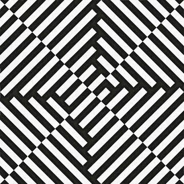 Abstract lijnenspel in zwart wit van Maurice Dawson