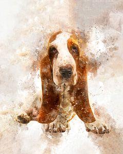 Basset puppy in aquarel