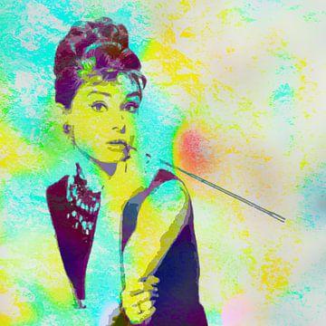 Audrey Hepburn - Frühstück bei Tiffany's Vector Art Portrait in Blau, Grün, Orange von Art By Dominic