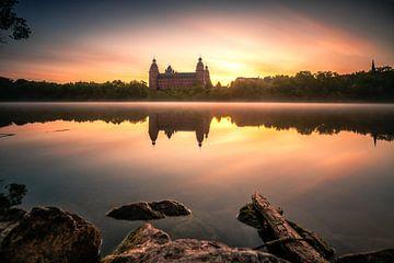 Het kasteel Johannisburg in Aschaffenburg Duitsland in de mist en de zonsopgang met reflectie van Jan Wehnert