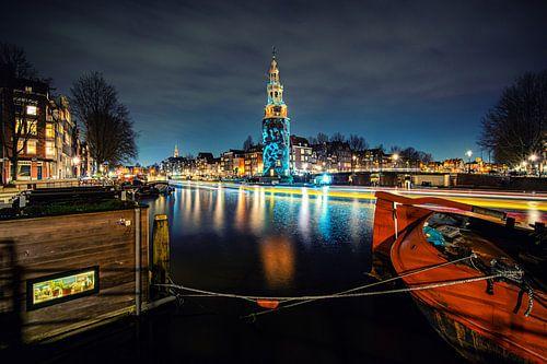 Montelbaanstoren van Amsterdam  in de avond