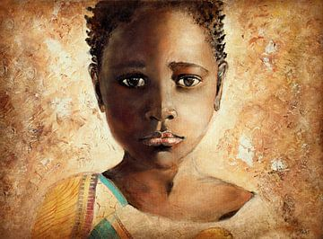 Afrikaans meisje ( schilderij op canvas) van Els Fonteine