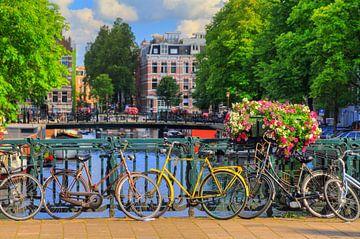 Fietsen op de brug in zomers Amsterdam van Dennis van de Water