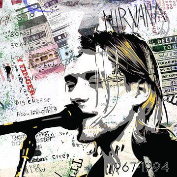 Kurt Cobain Popart van Rene Ladenius Digital Art