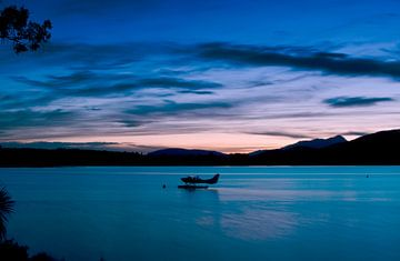 Zonsondergang bij Lake Te Anau - Nieuw Zeeland van