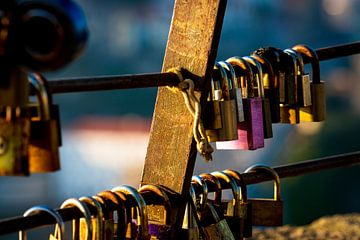 Lovelocks of love hangslot dat lievelingen aan een hek op een brug vastzetten om hun liefde voor elk