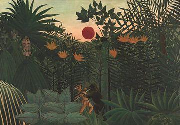 Tropische Landschaft: Amerikanischer Indianer im Kampf mit einem Gorilla, Henri Rousseau
