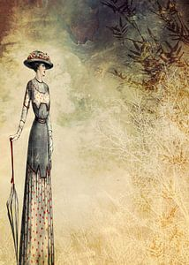 VINTAGE FASHION LADY IN ABSTRACT FOREST