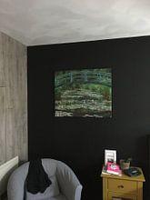 Klantfoto: De Japanse Voetgangersbrug, Claude Monet, op canvas