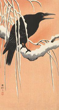 Krähe auf dem verschneiten Zweig des Ohara Koson