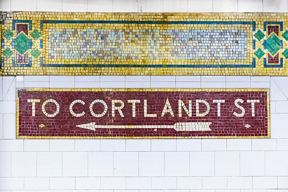 New York Subway naar Cortland Street van Inge van den Brande