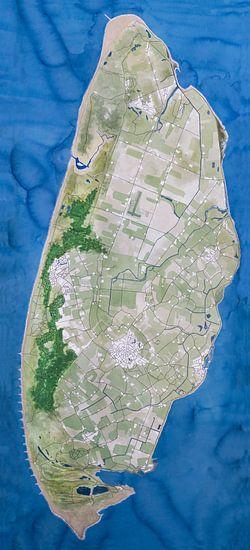 Texel | Landkaart Schilderij met blauwe zee van - Wereldkaarten.shop -