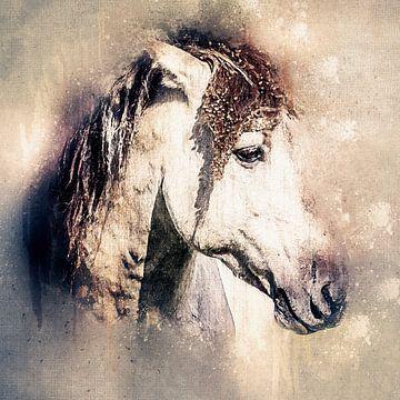 Portret van een stoere konik (kunst) van Art by Jeronimo