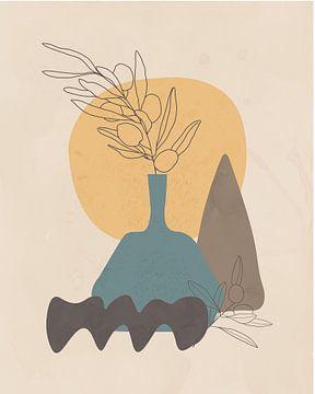 Minimal art stilleven met een  blauwe vaas van Tanja Udelhofen