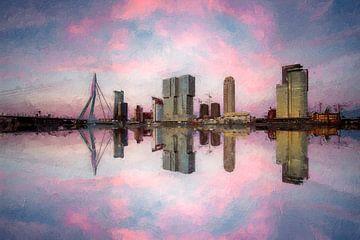 Skyline von Rotterdam Süd mit der Erasmusbrücke von Digitale Schilderijen