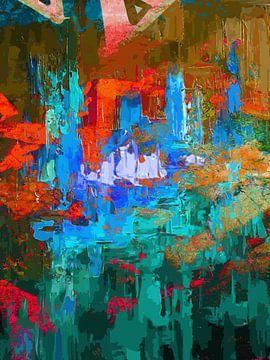 Modern, Abstract Digitaal Kunstwerk in Blauw, Oranje van Art By Dominic