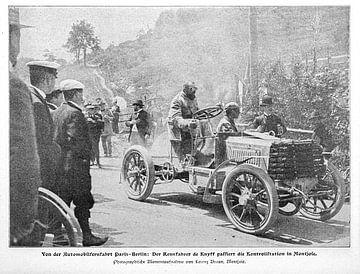 Autorace tussen Parijs en Berlijn; oude foto uit 1901 van Atelier Liesjes