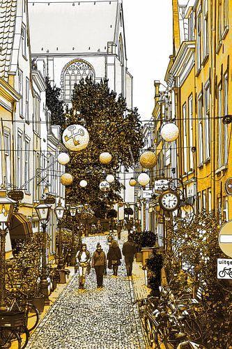 Pentekening Leiden Kloksteeg Gouden Tekening Lijntekening