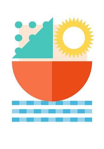 Abstract zeilschip op water in geometrische vormen