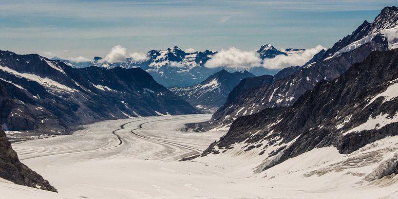 panorama Aletsch gletsjer gezien van de Jungfraujoch van Peter Moerman