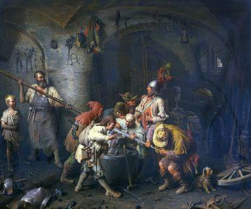 Die sieben Schwaben in der Schmiede beim Prüfen ihres Spießes, PETER BAUMGARTNER, 1866
