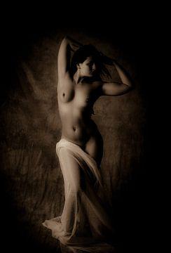 Vintage foto van een sexy poserende vrouw met een naakt lichaam van Atelier Liesjes