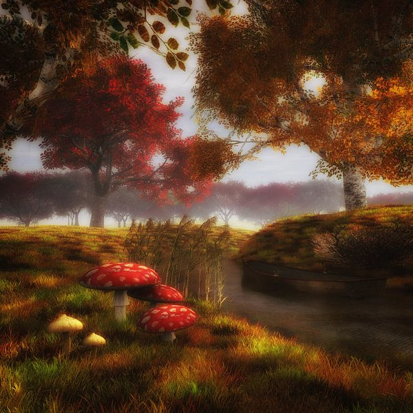 Landschap –Paddestoelen en rivier van Jan Keteleer