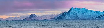 Lofoten eilanden in Noord-Noorwegen tijdens zonsondergang in de winter van Sjoerd van der Wal
