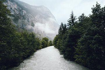 Wilde rivier, Lauterbrunnen, Zwitserland | Donkere reisfotografie | Landschap in bos van Ilse Stronks | Lines and light inspired travel photography