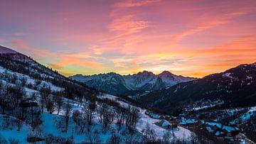 Zonsondergang in de Franse Alpen sur Richard Steenvoorden