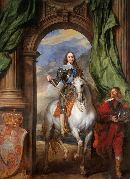Porträt Karl I., König von England, zu Pferd mit seinem Stallmeister St. Antoine, Anthony van Dyck von Meesterlijcke Meesters