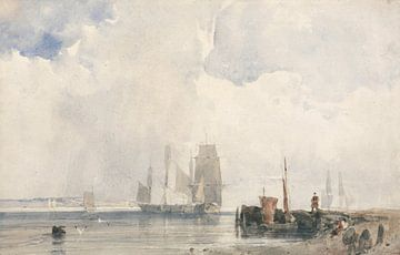 Schifffahrt in einer Mündung, wahrscheinlich in der Nähe von Quilleboeuf, Richard Parkes Bonington