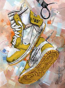 Nike air Jordan 1 Chicago Off White schilderij (geel) van Jos Hoppenbrouwers