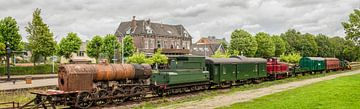 Panorama oude Treinstellen op Station Simpelveld in Zuid - Limburg van