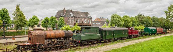 Panorama oude Treinstellen op Station Simpelveld in Zuid - Limburg