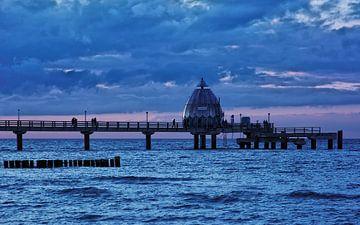 The Pier of Zingst During Blue Hour van Gisela Scheffbuch
