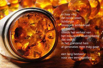 Barnsteen ring met poëzie van Bargo Kunst