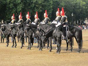 Paarden in Londen die salueerden voor de koning.