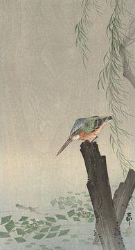 IJsvogel op boomstronk van Ohara Koson