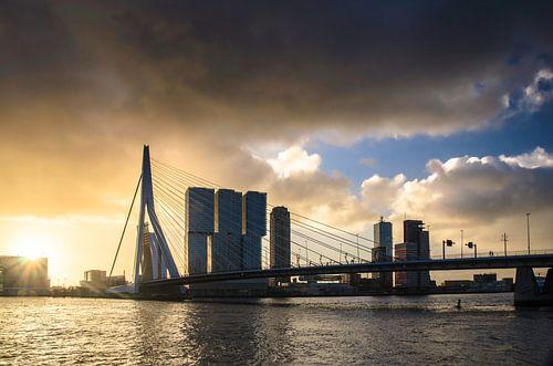 Herfstbui over de Erasmusbrug in Rotterdam
