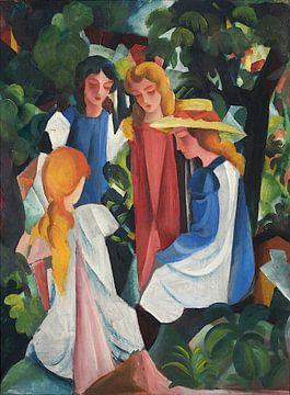 August Macke, Vier Mädchen - 1912 - 1913 von Atelier Liesjes