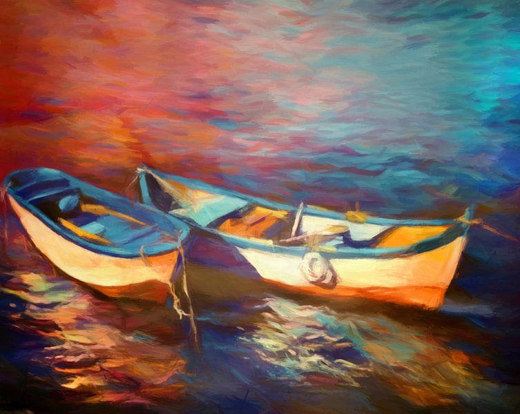 Bateaux sur le lac van Angel Estevez