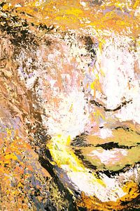 Yellow portret palette knife sur Dunja Paolo