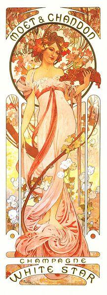 Malerei Getränke , Champagner, Jugendstil Malerei Mucha von Alphonse Mucha
