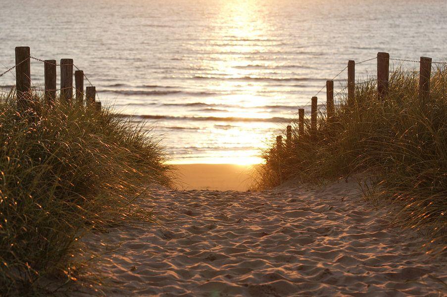 Strand en zee bij zonsondergang