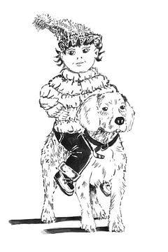 handgetekende hond met kind op rug van Ivonne Wierink