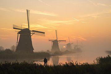 Ein schöner Morgen in Kinderdijk und seinen Mühlen von Dirk van Egmond